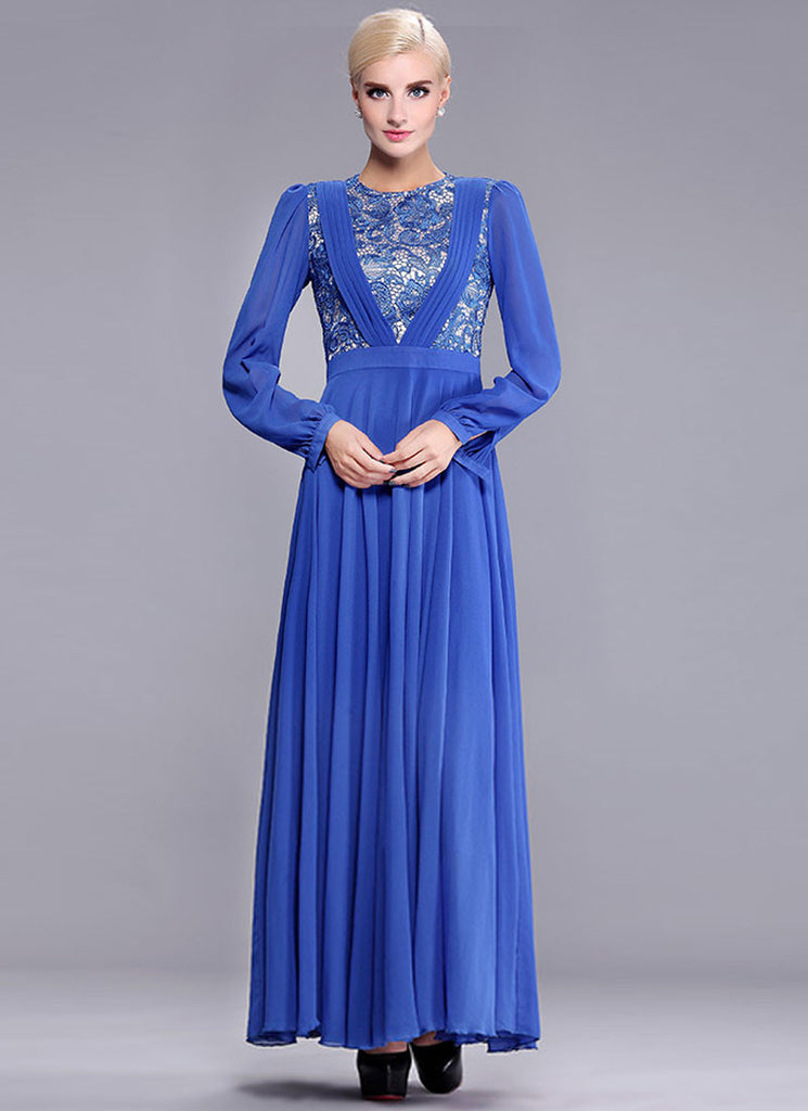 Sapphire Lace Chiffon Maxi Dress with Pleated V Top