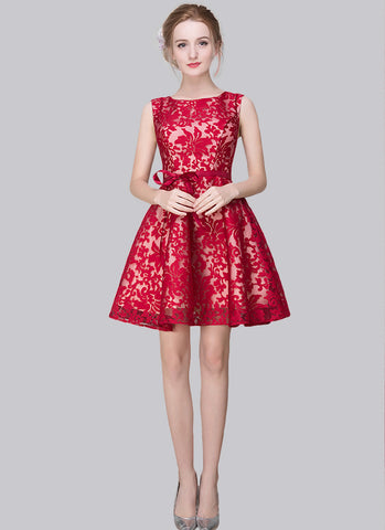 Crimson Red Embroidered Organza Lace Aline Mini Dress MN62