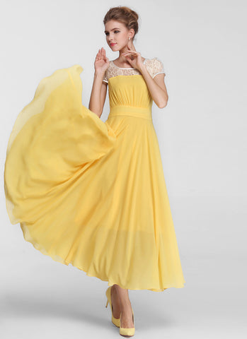 Yellow Chiffon Maxi Dress with Beige Lace Details and Cap Sleeves MX43
