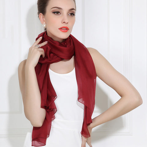 Maroon Silk Chiffon Scarf - Dark Red Silk Scarf - Large Silk Shaw - SS30