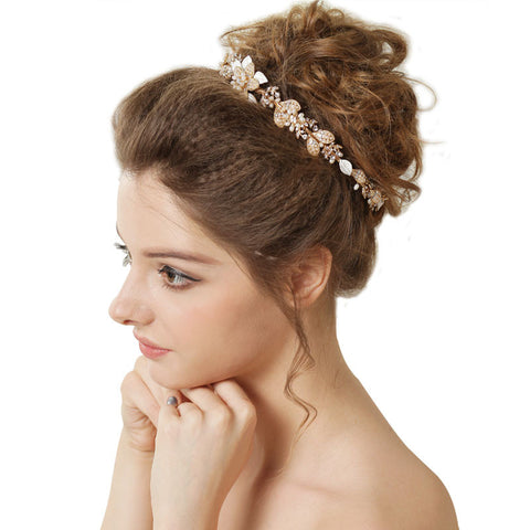 Hand Wired Bridal Headpiece - Crystal Wreath with Floral Pattern - Wedding Headpiece - Bridal Hair Piece - Pearl and Crystal Bridal Halo HP22