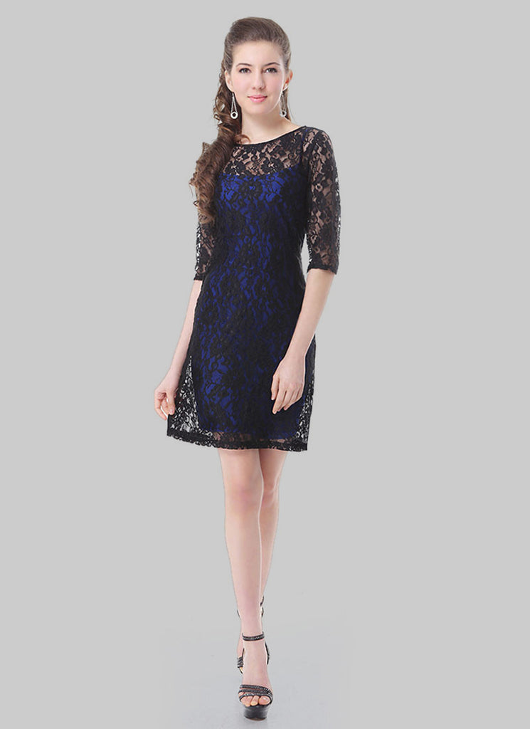 Black Lace Mini Dress with Blue Lining