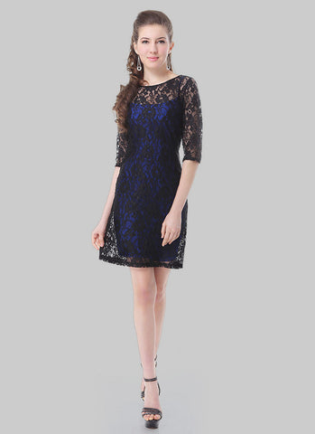 Black Lace Mini Dress with Blue Lining RD409