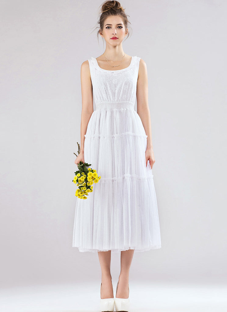 White Lace Tulle Midi Dress with Ruffled and Tiered Skirt