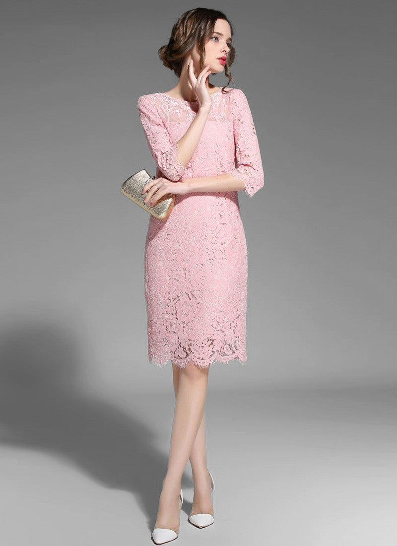 Light Pink Lace Sheath Mini Dress With Sheer Tulle Details