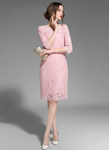 Light Pink Lace Sheath Mini Dress with Sheer Tulle Details and Elbow Sleeves MN55
