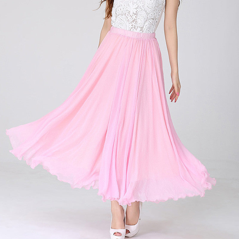 Light Pink Chiffon Maxi Skirt with Extra Wide Hem