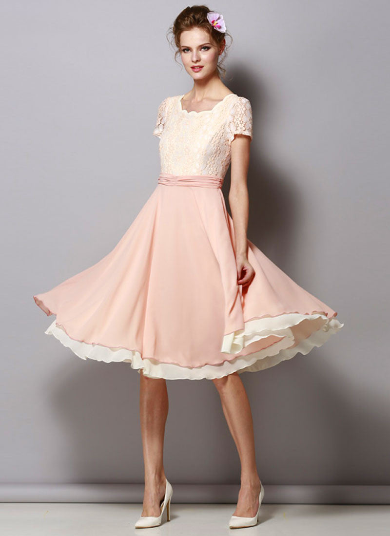 9eb83a802c67 Dusty Rose Pink Lace Chiffon Midi Dress with Ruched Waist Yoke RM429 ...