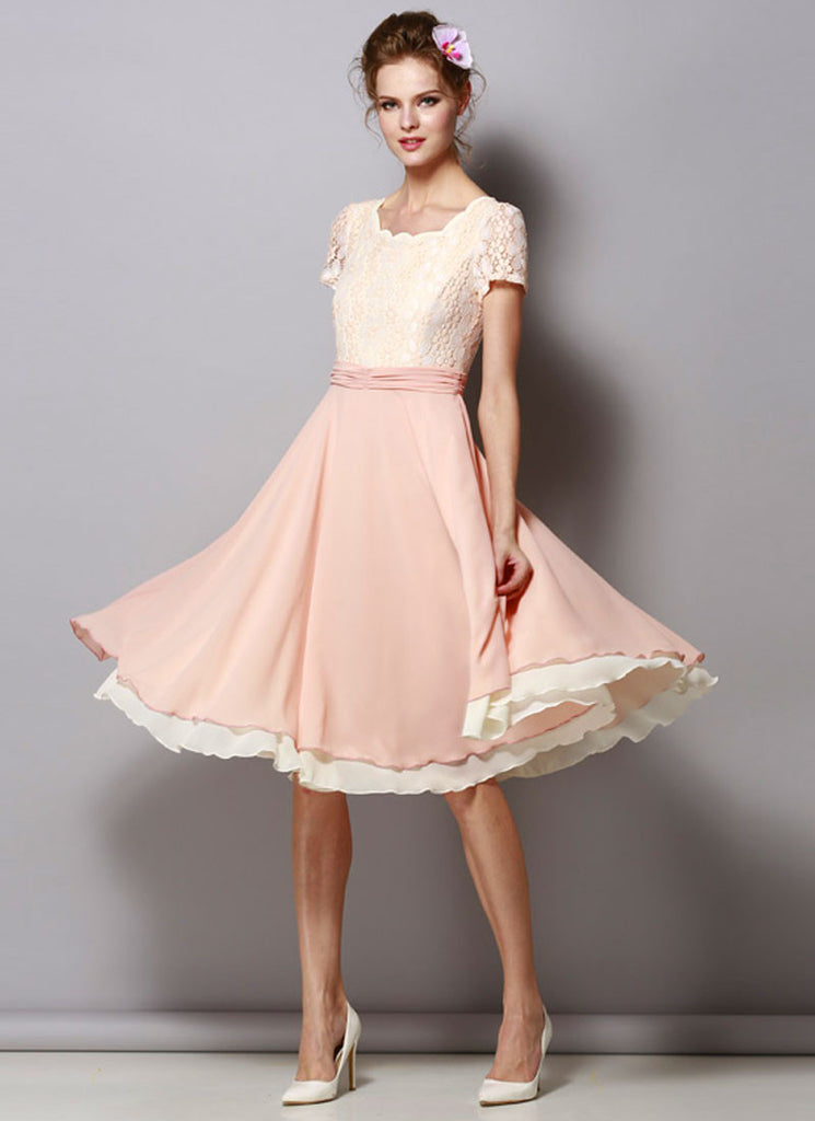 Dusty Rose Pink Lace Chiffon Midi Dress with Ruched Waist Yoke
