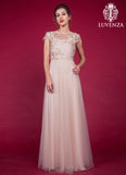 Floor Length Champagne Prom Dress with Floral Embroidered Lace Bodice