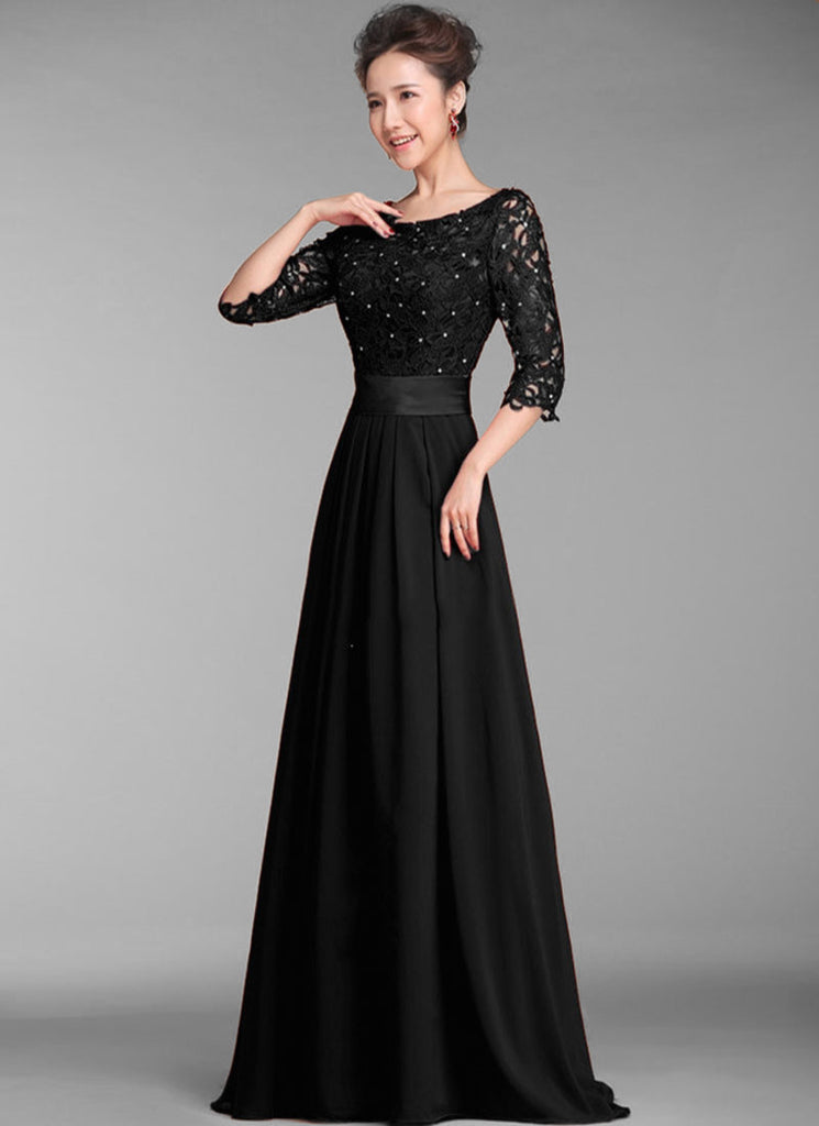 Sequined Black Lace Chiffon Maxi Dress with Half Sleeves