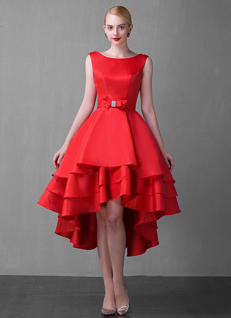 Open Back Red Hi Low Hem Midi Dress with Layered Skirt and Bow Tie Waist