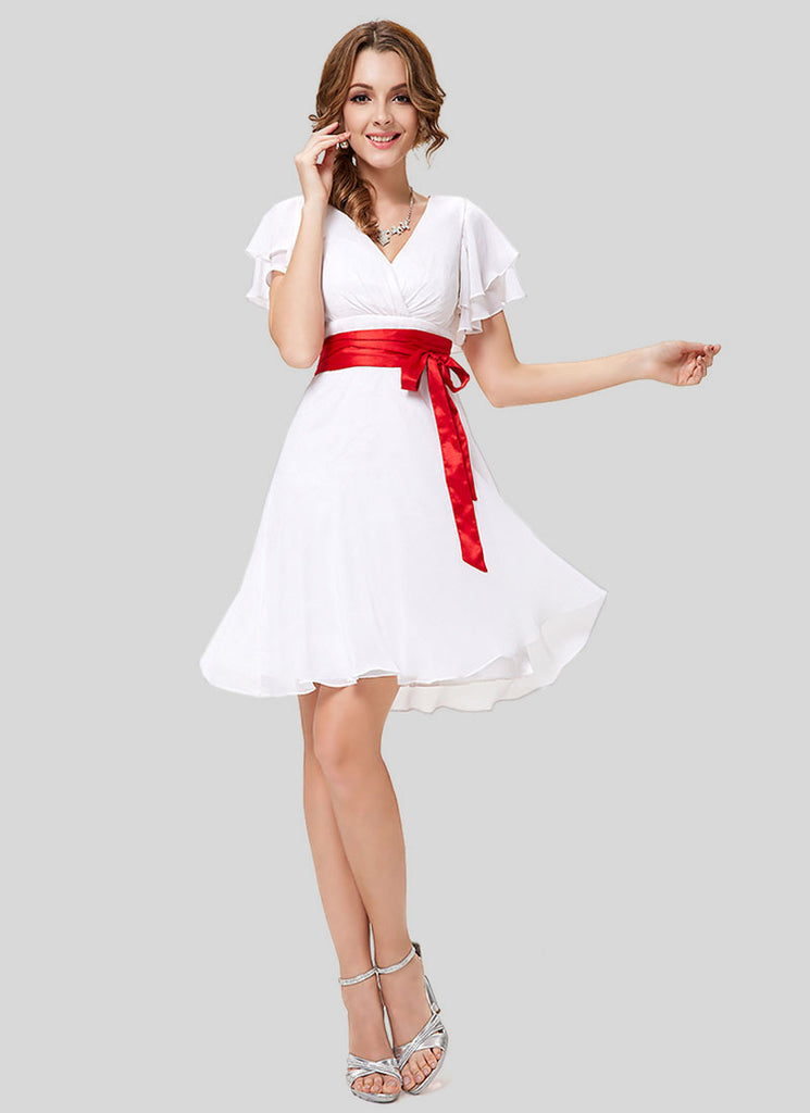 White Mini Dress with Red Waist Sash and Layered Flutter Sleeves