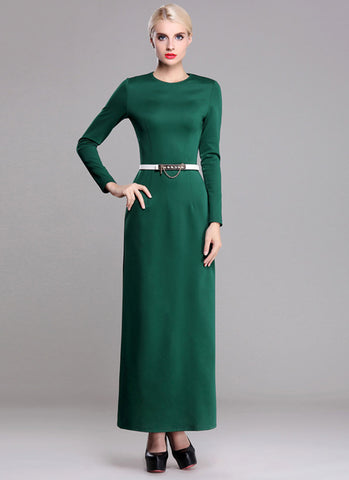 Long Sleeve Green Sheath Maxi Dress RM371