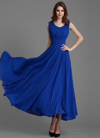 Sleeveless V Neck Blue Maxi Dress with Plain Waist Yoke MX23
