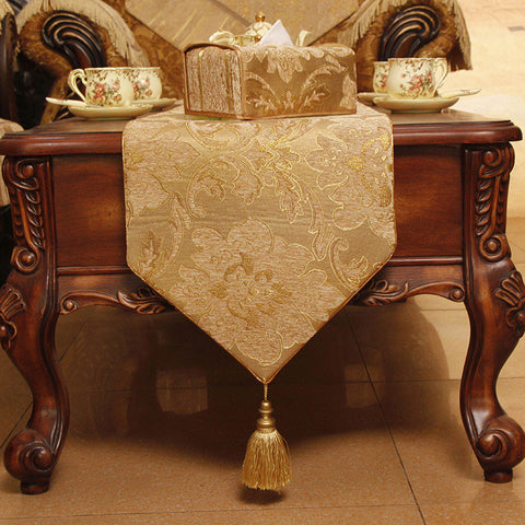 Retro Style Jacquard Table Runner with Piping and Ball Topped Fringes TR5