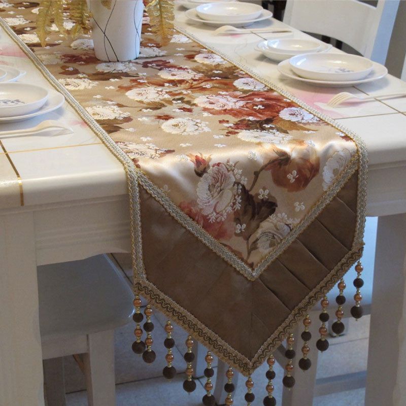 Colorful Floral Table Runner with Pleated Edge and Dangle-ball Details TR10