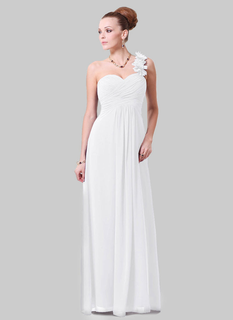 Open Shoulder White Maxi Dress with 3D Floral Embellishment