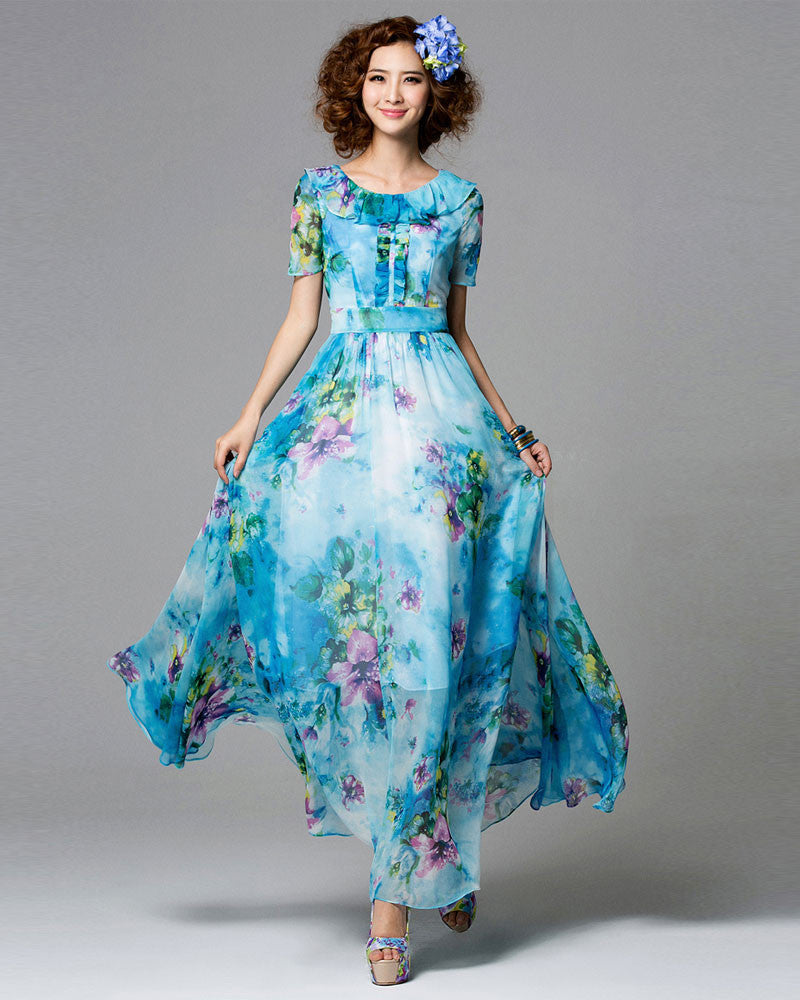 Blue Floral Maxi Dress with Layered Round Neck and Embellished Top