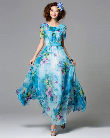 Blue Floral Maxi Dress with Layered Round Neck and Embellished Top RM701