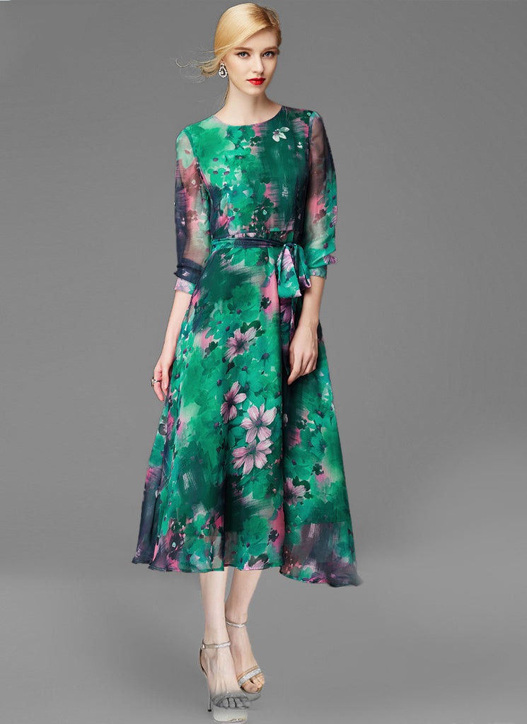 Green Floral Midi Dress with Three Quarter Sleeves and Oil Paint Floral Print