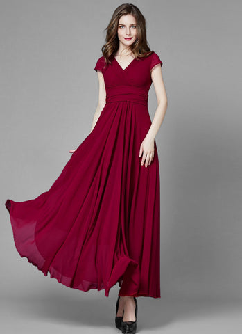 V Neck Firebrick Red Chiffon Maxi Dress with Ruched Waist Yoke and Cap Sleeves MX14