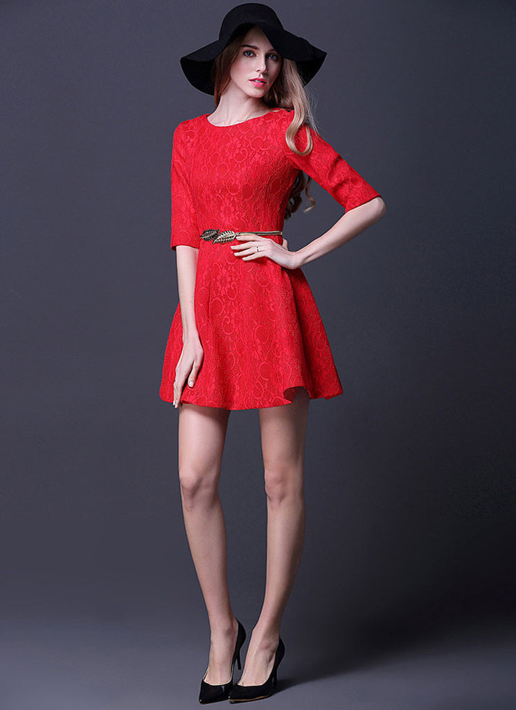 Half Sleeve Red Lace Mini Dress