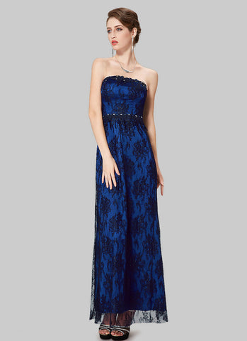 Strapless Black Lace Evening Dress with Blue Lining and Cabochon Embellishment RM519