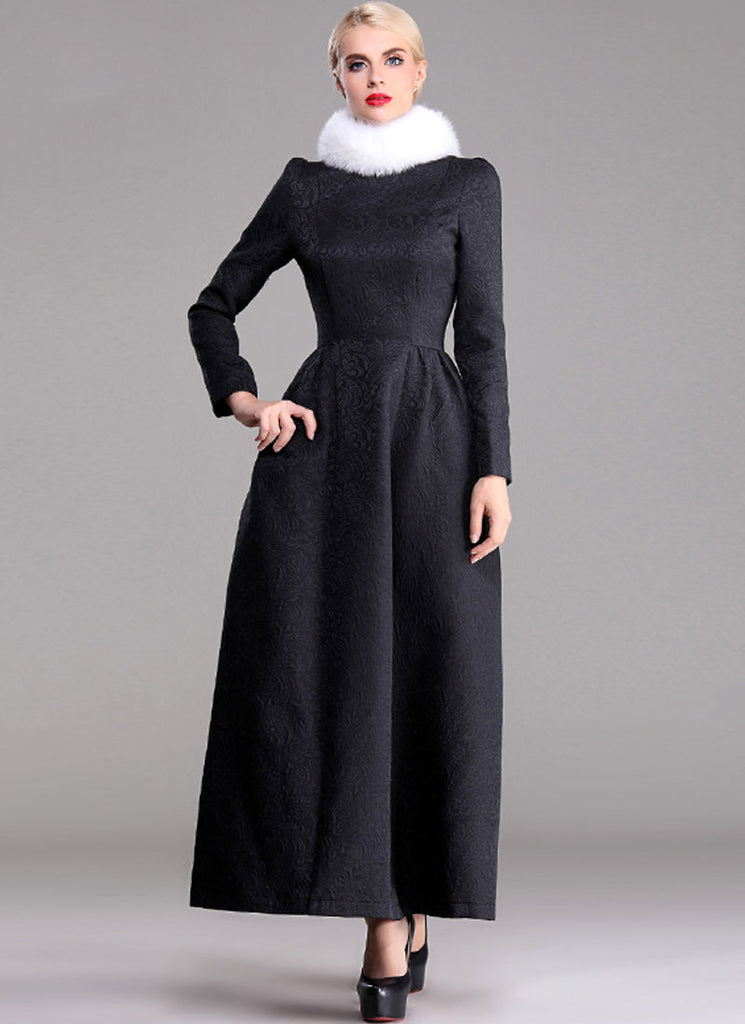 Long Sleeve Black Jacquard Maxi Dress
