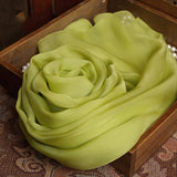 Green Yellow Silk Chiffon Scarf - Light Olive Green Mulberry Silk Scarf SS24