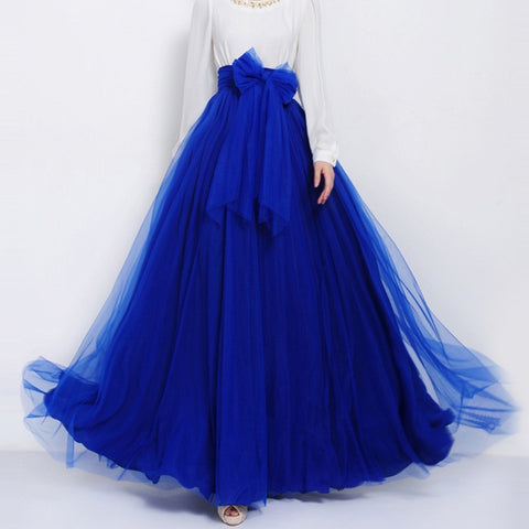 Sapphire Blue Tulle Maxi Skirt with Bow Sash and Extra Wide Hem - Long Blue Tulle Skirt Floor Length - SK3e