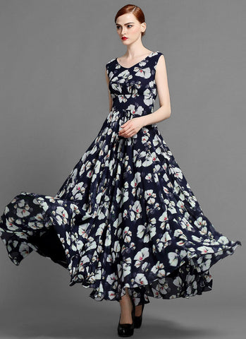 Sleeveless V Neck Dark Navy Floral Maxi Dress MX36