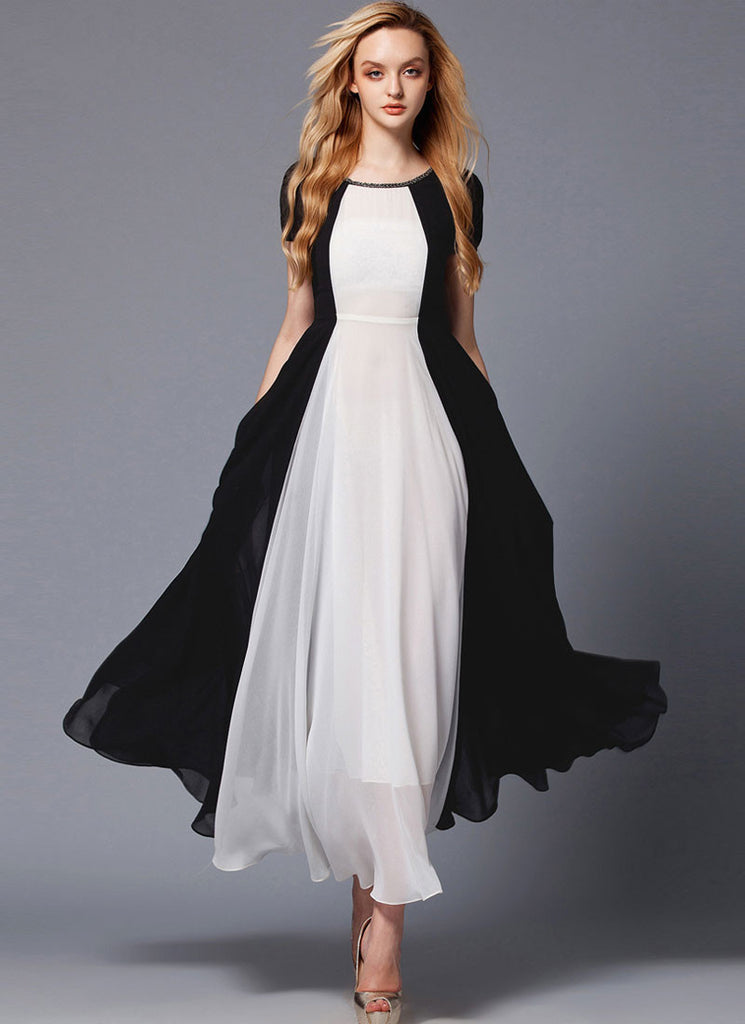 Black and White Maxi Dress with Rhinestone Neck