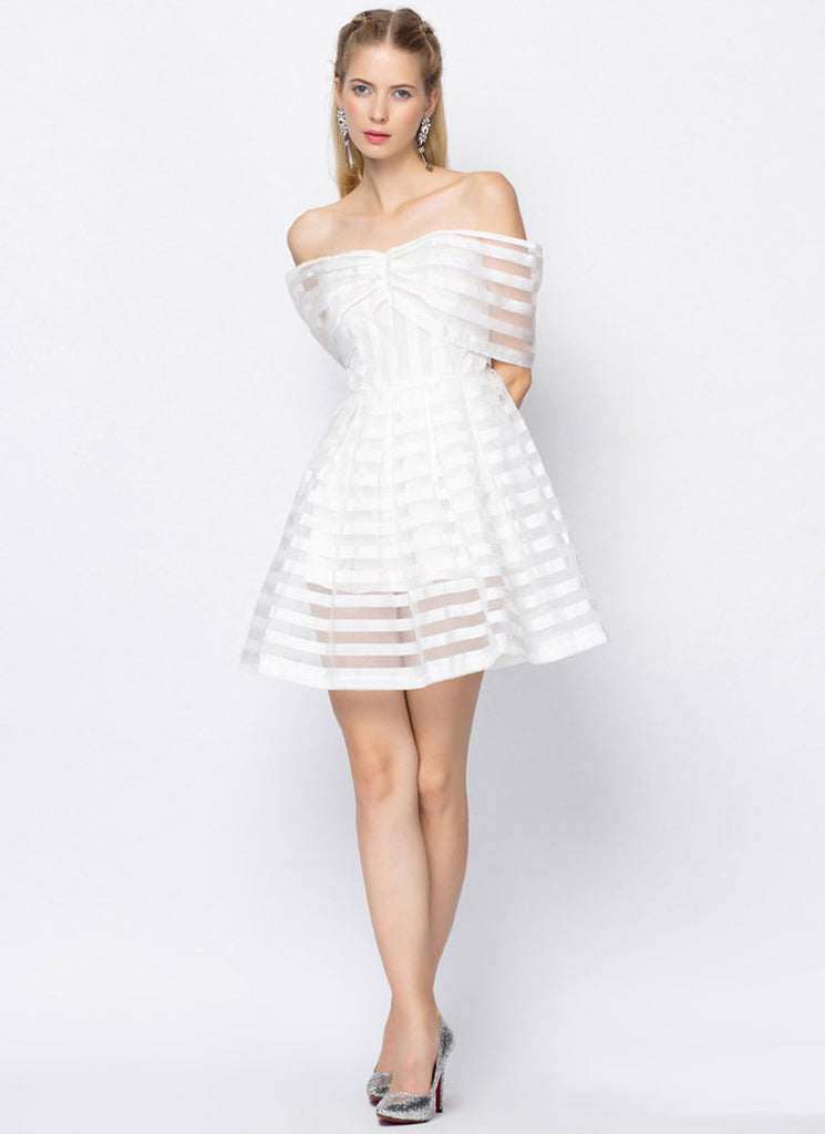 Off-Shoulder White Organza Mini Dress with Stripe Pattern