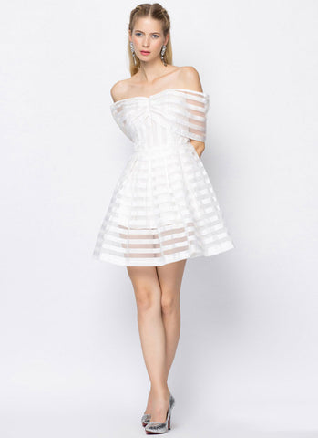 Off-Shoulder White Organza Mini Dress with Stripe Pattern RD380