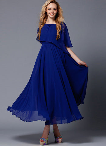 Dark Blue Maxi Dress with Asymmetric Cloak RM426