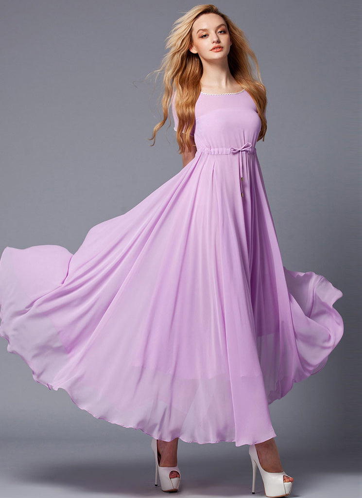 Medium Orchid Maxi Dress with White Lace Trim Details and Draw String Waist