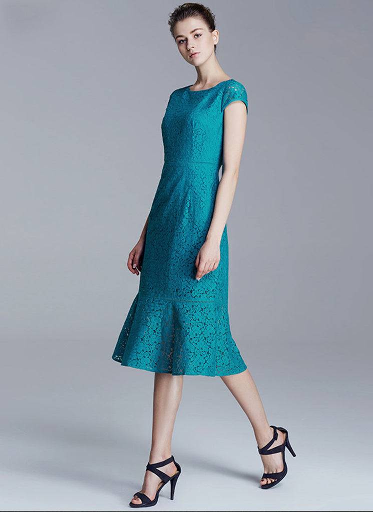 Dark Turquoise Lace Midi Dress with Cap Sleeves and Flounce Skirt Hem Dress