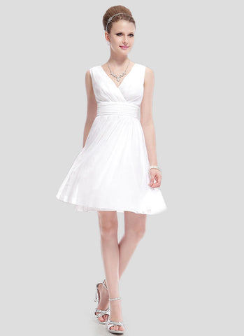 V Neck V Back White Chiffon Mini Fit and Flare Dress RD402