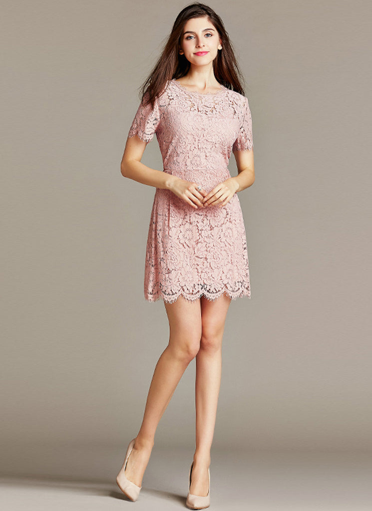 Dusty Rose Pink Lace Mini Sheath Dress with Eyelash and Scallop Details