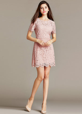 Dusty Rose Pink Lace Mini Sheath Dress with Eyelash and Scallop Details RD537