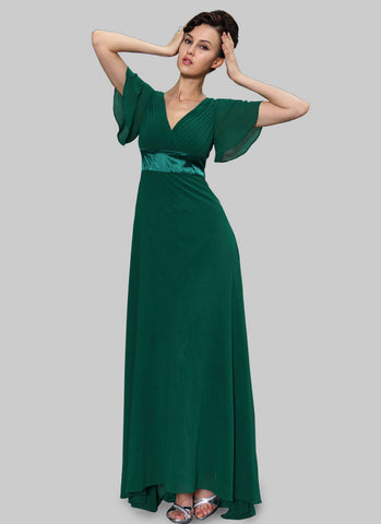 Empire Waisted Emerald Green Maxi Dress with Flutter Sleeves RM459