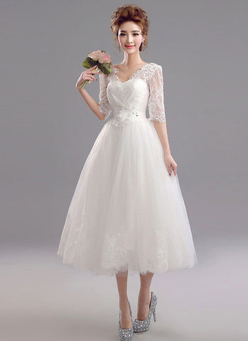 White Lace Tulle Wedding Dress with Scalloped V Neck and Eyelash Details RM648