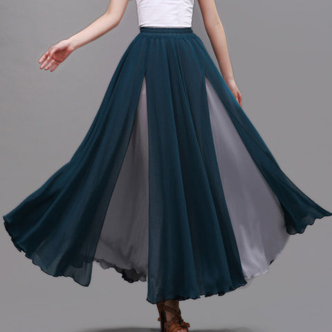 Dark Teal and Gray Maxi Skirt - Contrast Colored Maxi Skirt - Long Layered Chiffon Skirt - SK6a