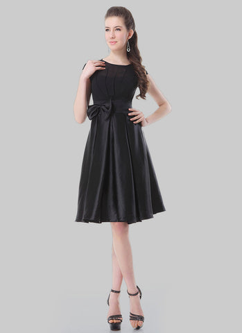 Black Chiffon Satin Fit and Flare Mini Dress with Bow Embellishment RD396