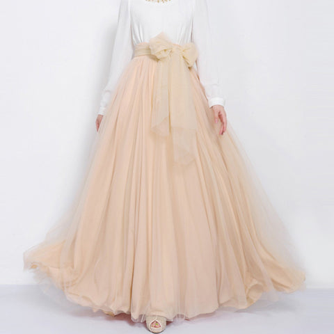 Sexy Nude Tulle Maxi Skirt with Bow Sash and Extra Wide Hem - Long Nude Tulle Skirt Floor Length - SK3j