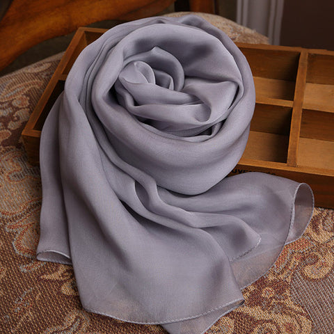 Gray Silk Chiffon Scarf - Grey Mulberry Silk Scarf SS2