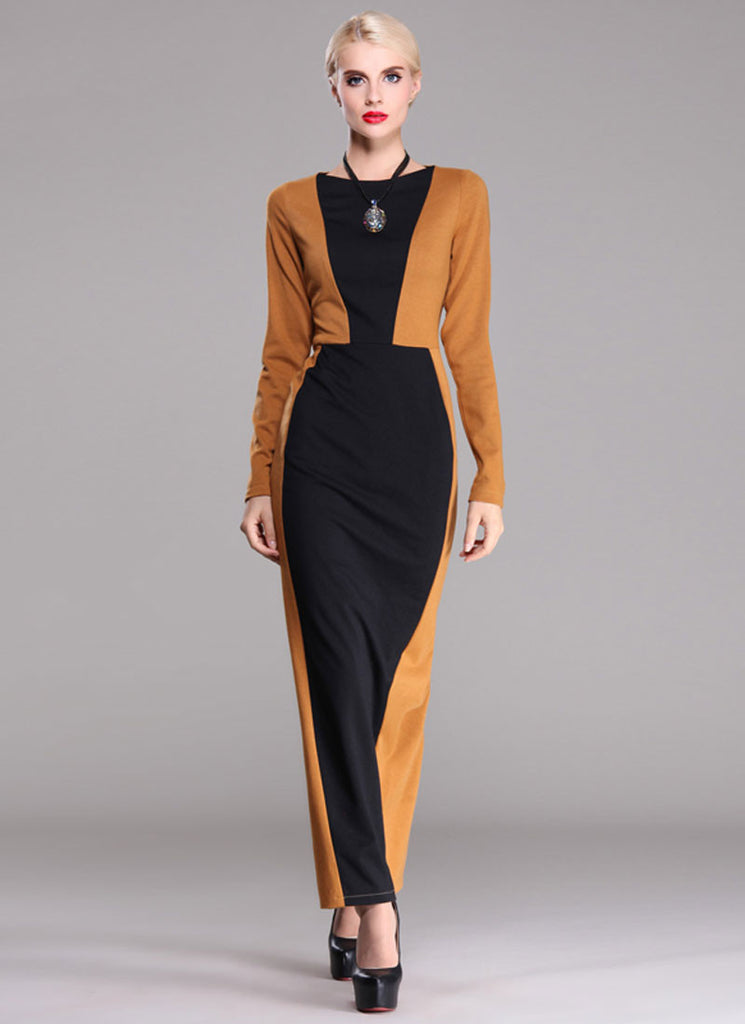 Golden Rod Sheath Maxi Dress with Black Details