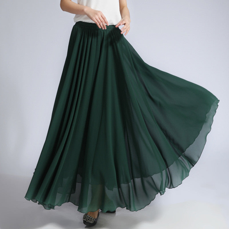 Dark Green Chiffon Maxi Skirt with Extra Wide Hem