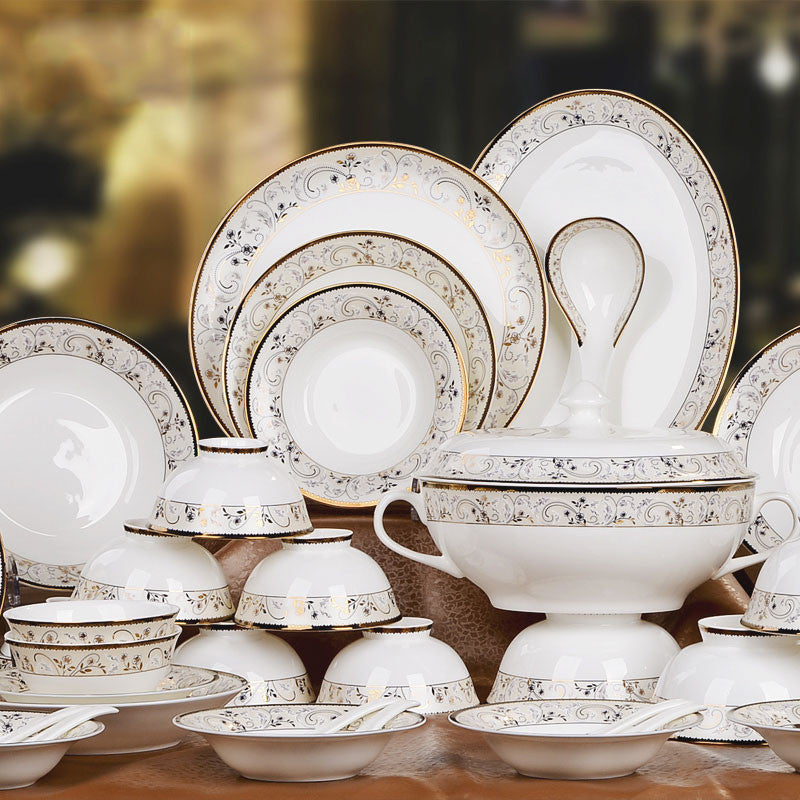Gold Gilded Fine Bone China Dinnerware Set (40 Pieces) - Oriental Style & Gold Gilded Fine Bone China Dinnerware Set (40 Pieces) - Oriental ...